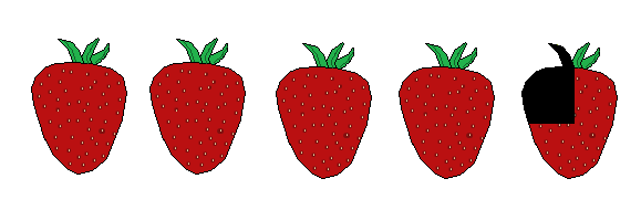 4 three quarter Strawberries