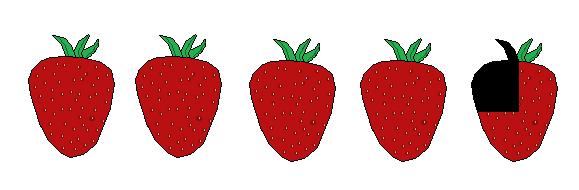 4 three quarter Strawberries