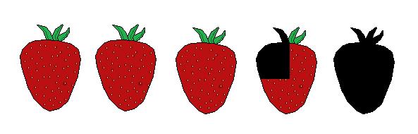 3 three quarter strawberries